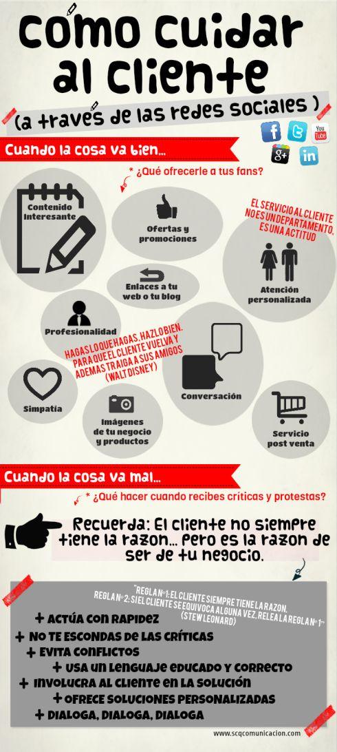 Como cuidar a tus clientes con Redes Sociales #infografia