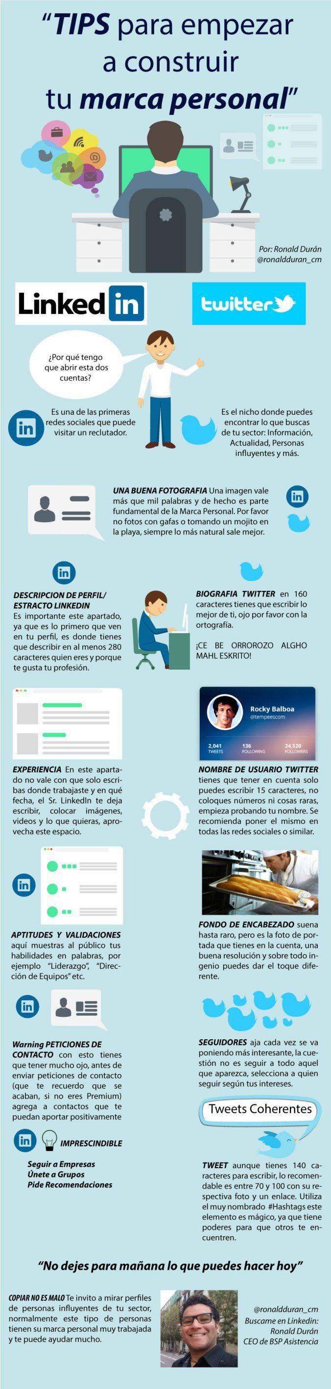 Consejos para construir tu Marca Personal #infografia en español. #CommunityMan...
