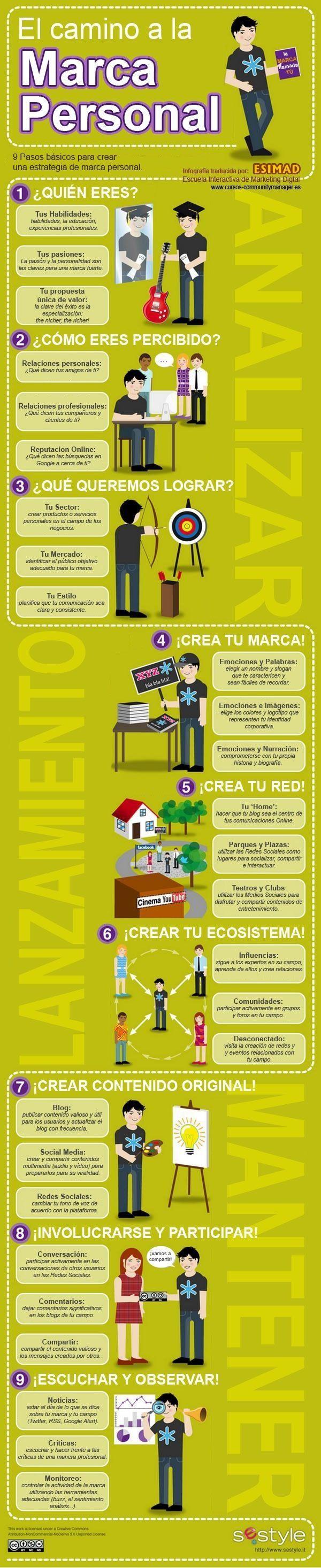 9 pasos para crear tu Marca Personal #infografia #infographic #marketing