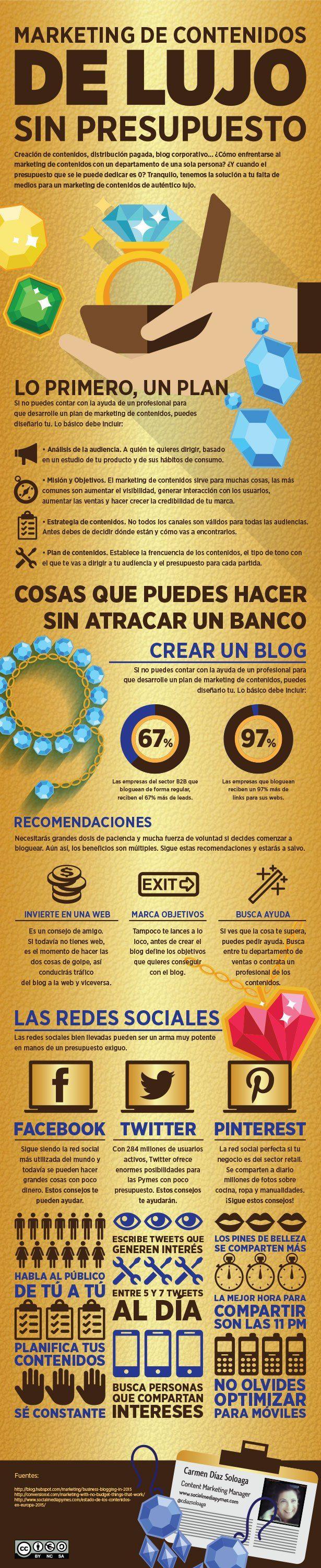 Marketing de Contenidos de Lujo (sin presupuesto) #infografia #infographic #marketing