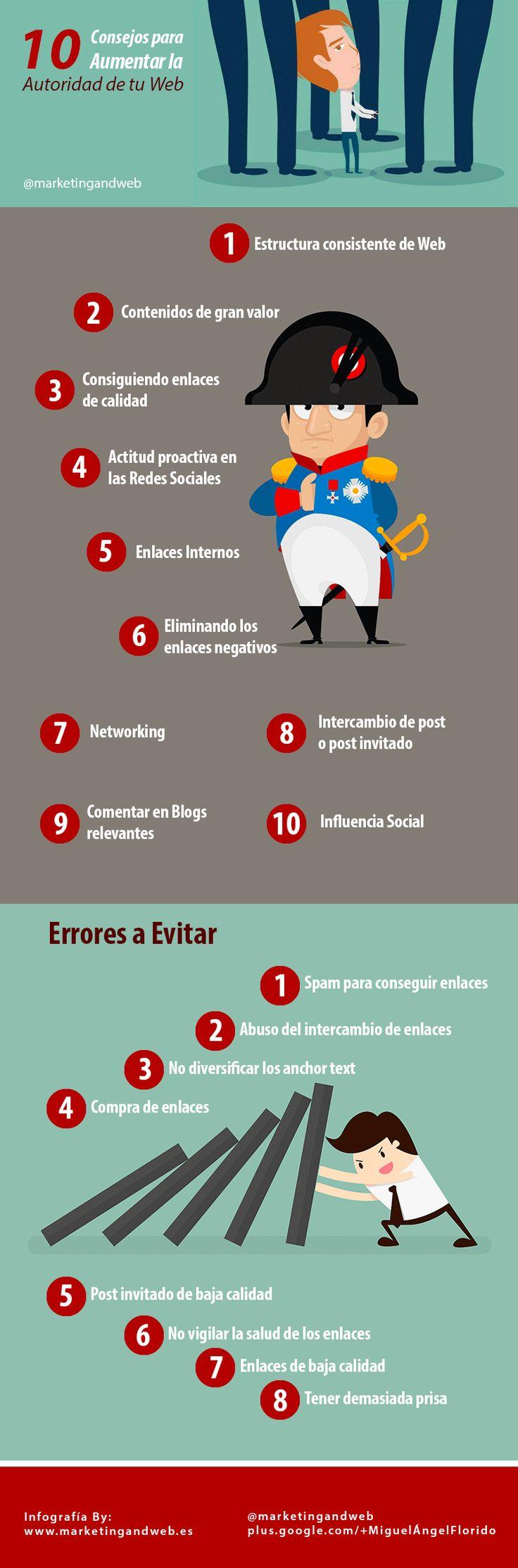 10 consejos para aumentar la autoridad de tu web (y 10 errores a evitar) #infografia #seo