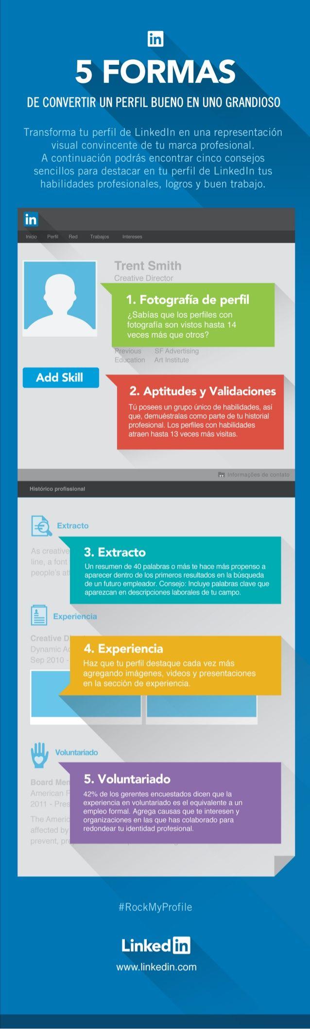 5 formas de convertir un buen perfil de Linkedin en uno grandioso #infografia #socialmedia