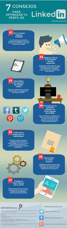 7 consejos para optimizar tu perfil en LinkedIn #infografia #infographic #socialmedia