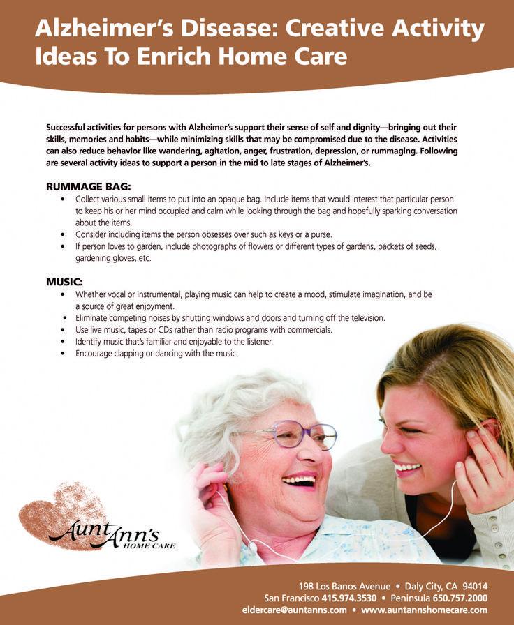 Alzheimer's Disease: Creative Activity Ideas to Enrich Home Care #activities #alzheimers #homecare #dementiacare