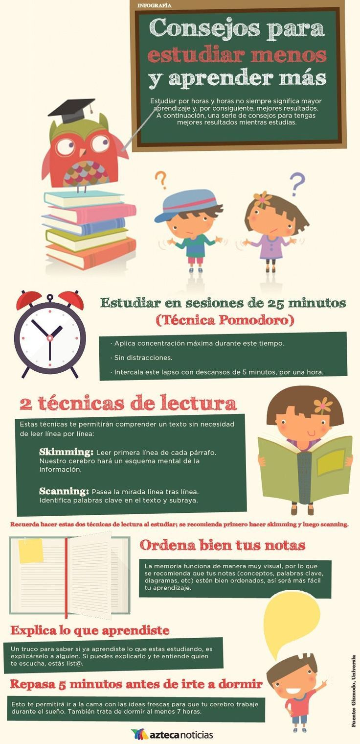 Consejos para estudiar menos y aprender más - Infografia - www