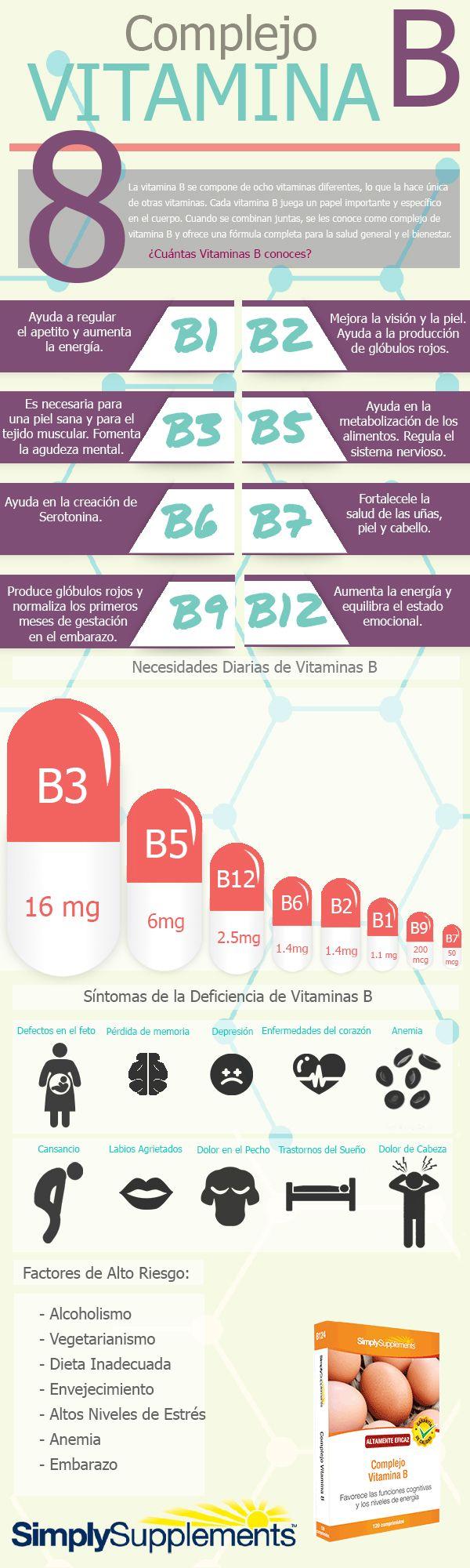 Todo lo que necesitas saber sobre las Vitaminas B. #infografia #vitaminab #salud...