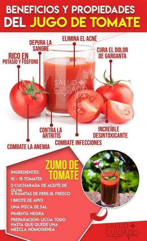 Beneficios del Jugo de tomate y Propiedades #infografia #salud #saludable #tomat