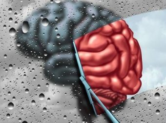 terapia de la demencia y la curación de la enfermedad cerebral o el concepto de tratamiento de salud mental como un cerebro borrosa con gotas en una ventana como un limpiador limpia la confusión a un órgano pensamiento sano como un símbolo de la neurología o ayuda psicológica con elementos de ilustración 3D. – #Infografia #Alzheimer #Demencias