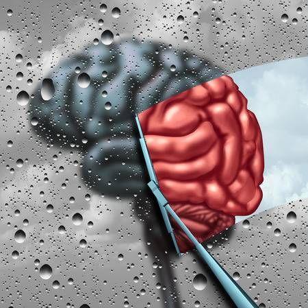 Terapia de la demencia y la curación de la enfermedad cerebral o el concepto de tratamiento de salud mental como un cerebro borrosa con gotas en una ventana como un limpiador limpia la confusión a un órgano pensamiento sano como un símbolo de la neurología o ayuda psicológica con elementos de ilustración 3D